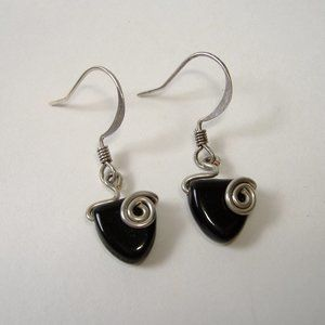 Black Gemstone Sterling Silver Drop Earrings